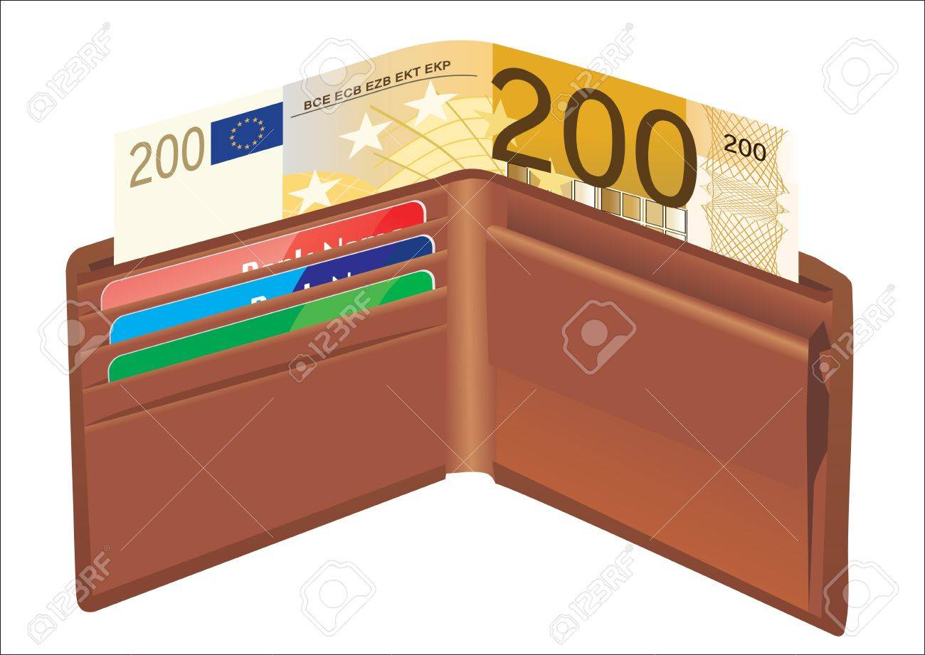 Leather wallet,inside, with bank cards and money Stock Vector - 19394572
