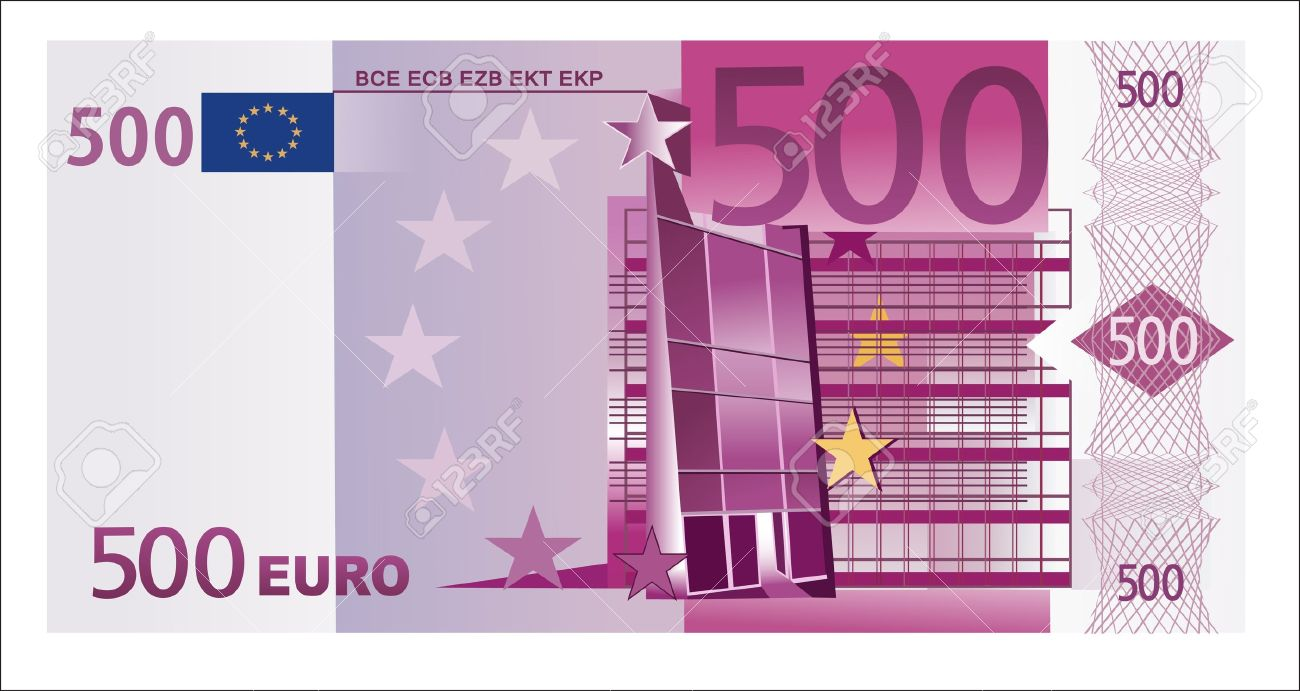 Isolated 500 euro banknote - 19394513