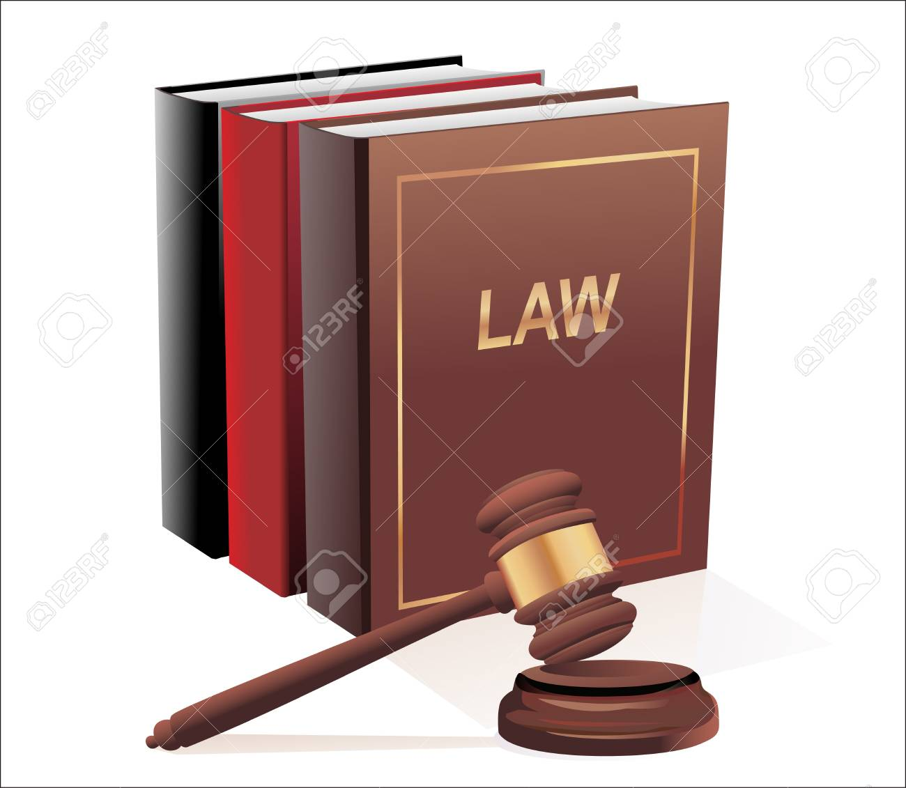 Wooden gavel and law books isolated on white Stock Vector - 19393110