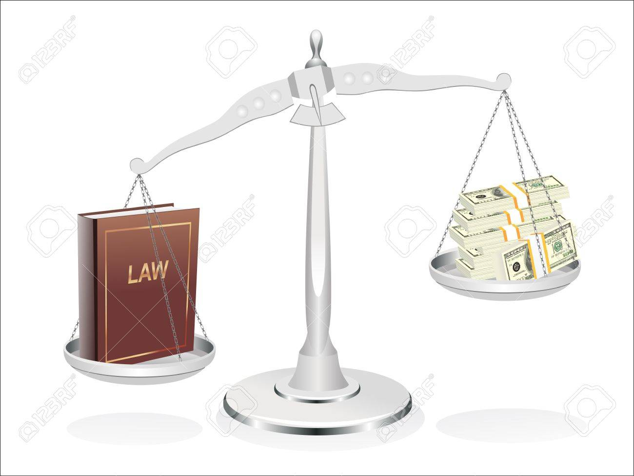 Balance between law and money illustration design over a white background Stock Vector - 19394645