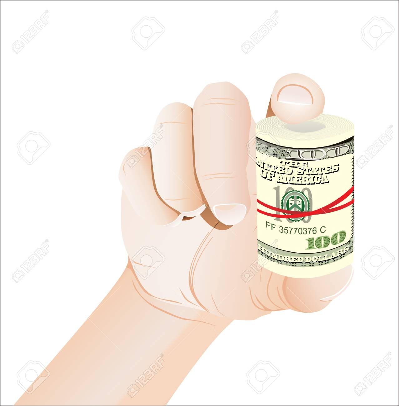 hand holding roll of 100 dollars banknotes isolated on white Stock Vector - 19394659