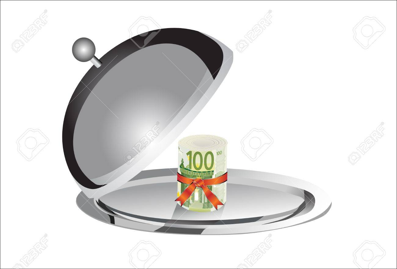 Roll of 100 euro banknotes on the silver plate under the food cover isolated on white background Stock Vector - 19600509