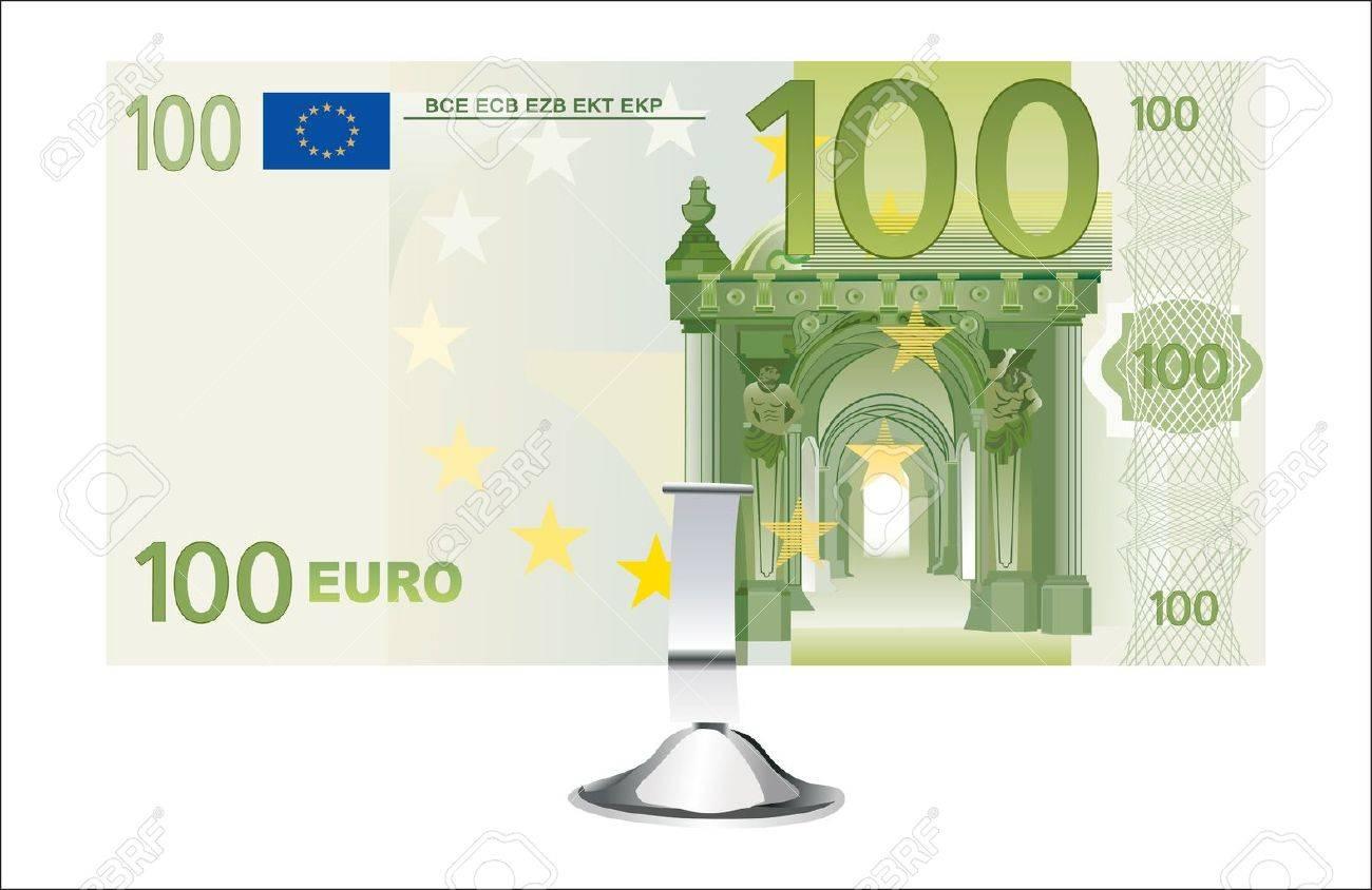 Klein Bureau Staan ââmet â 100 Biljet Geãsoleerd Op Wit