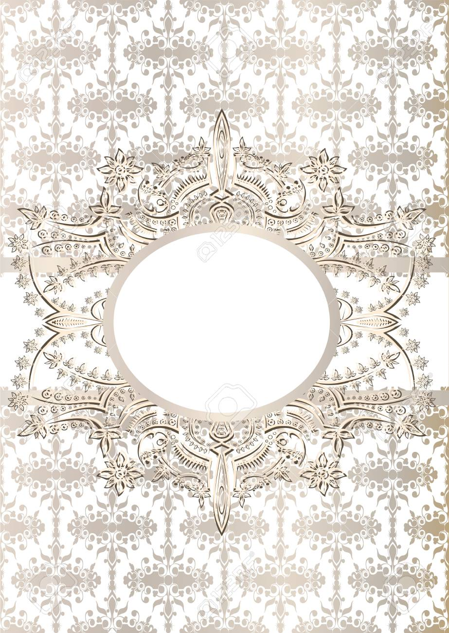 Vintage seamless wallpaper with a ribbon and frame in pastel colors Stock Vector - 21237323