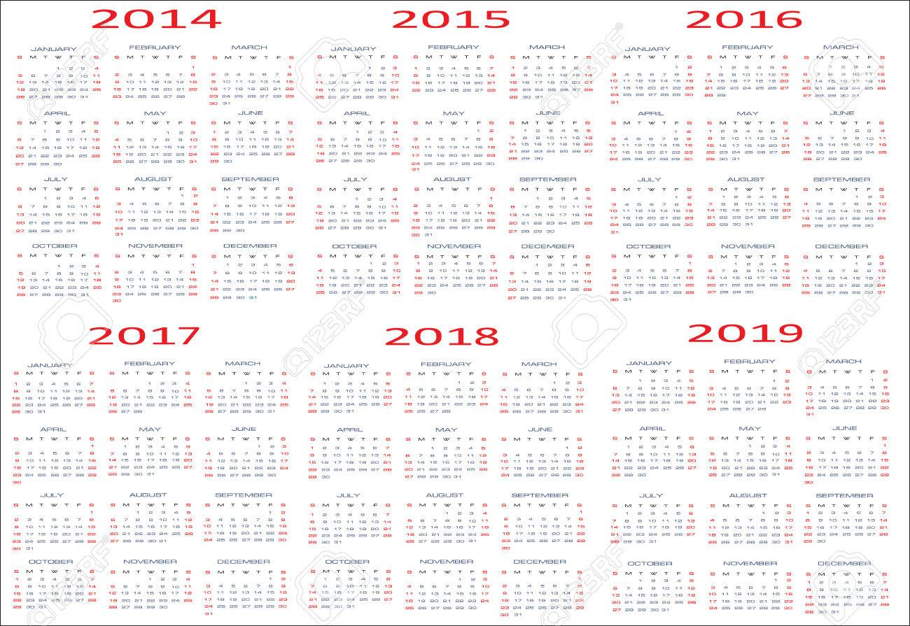 Yearly Calendar 2014 2019 Calendar For Years 2014   2019, Easy Editable, Weeks Start On