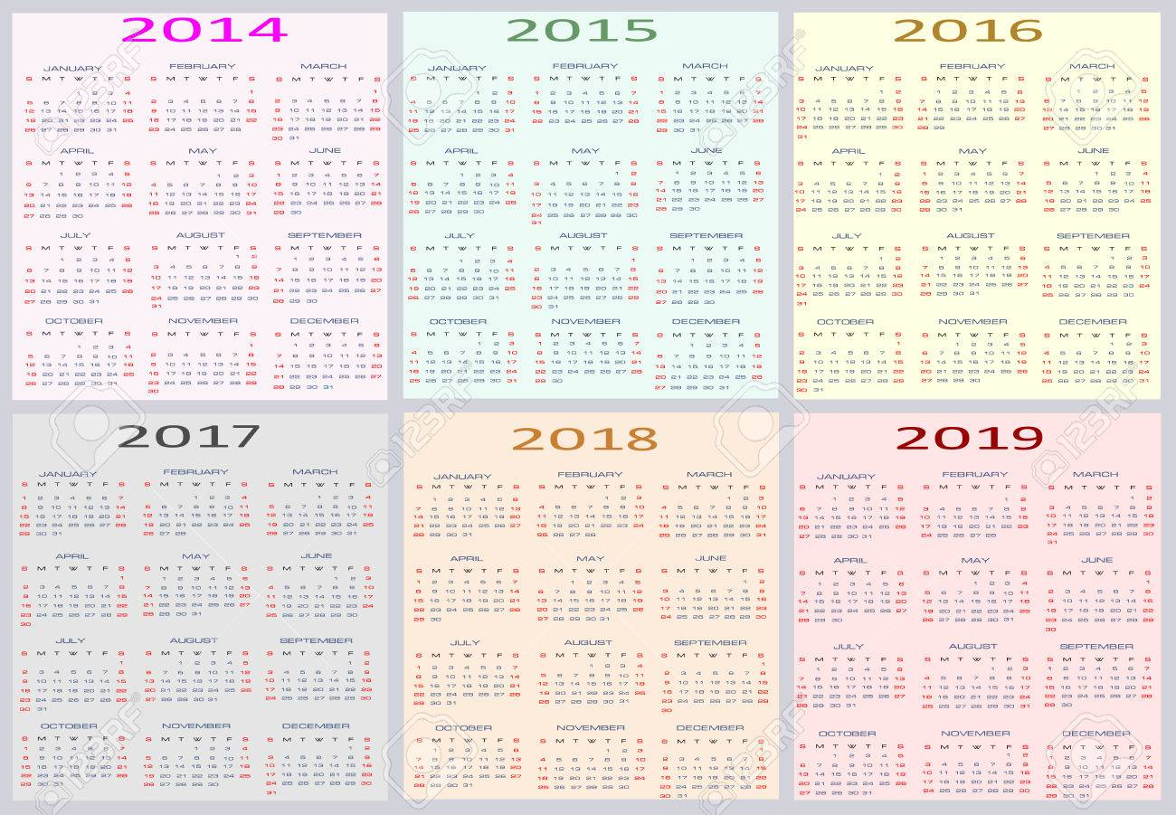 2014-2019 Year Calendar Calendar For Years 2014   2019, Easy Editable, Weeks Start On