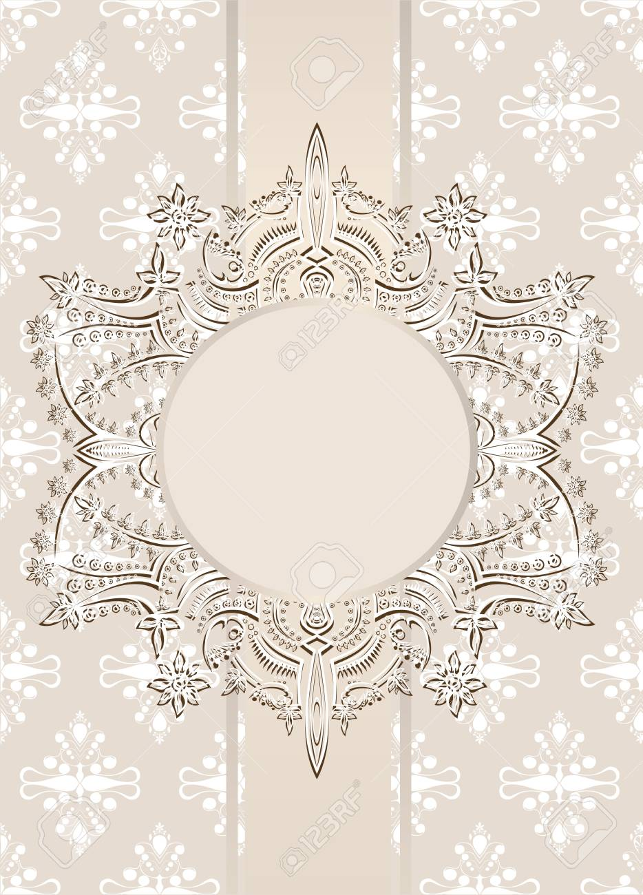Vintage seamless wallpaper with a ribbon and frame Stock Vector - 22894267