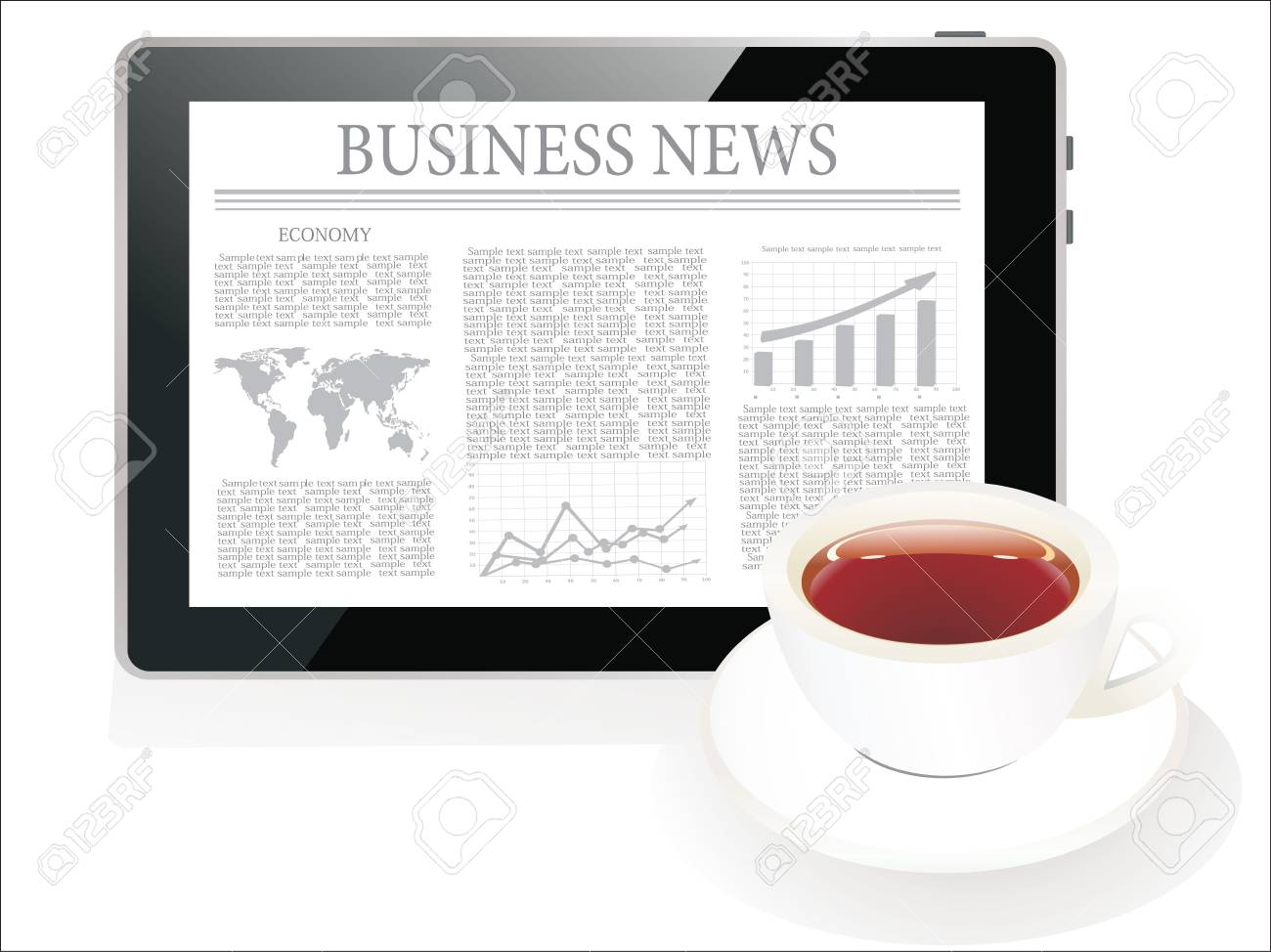 Tablet pc shows latest news on screen and cup of coffee Stock Vector - 22894335