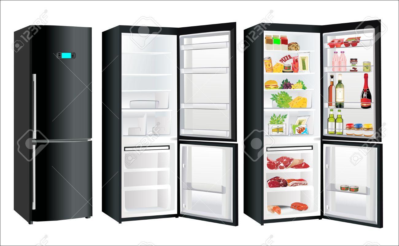 Kühlschrank Schwarz : Der leere kühlschrank und voller schwarz mit einigen arten von