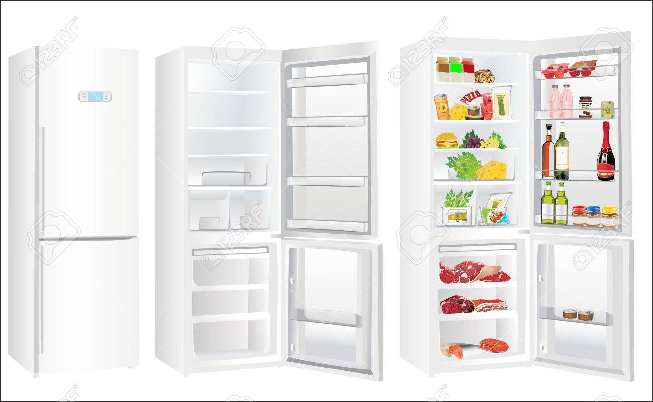 The empty white refrigerator and full with some kinds of food - vegetables, meat, fish - 23887243