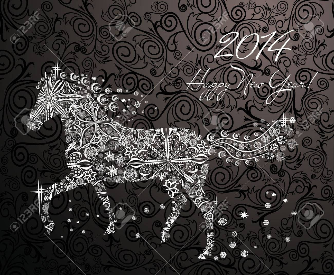 Year of horse  Happy new year 2014 Stock Vector - 23892913