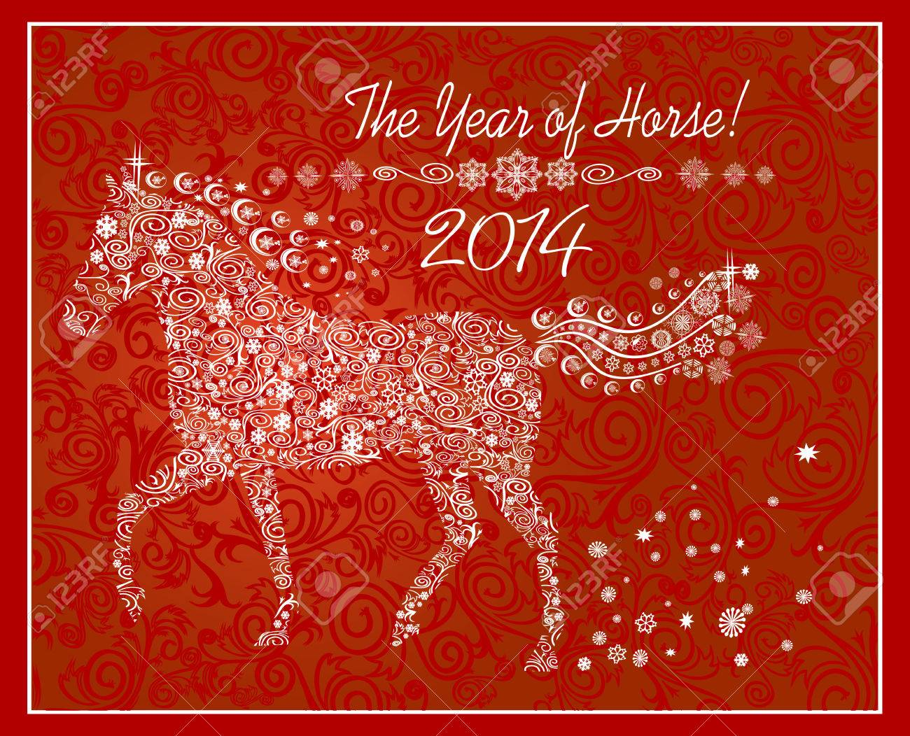 Year of horse  Happy new year 2014 Stock Vector - 23893996