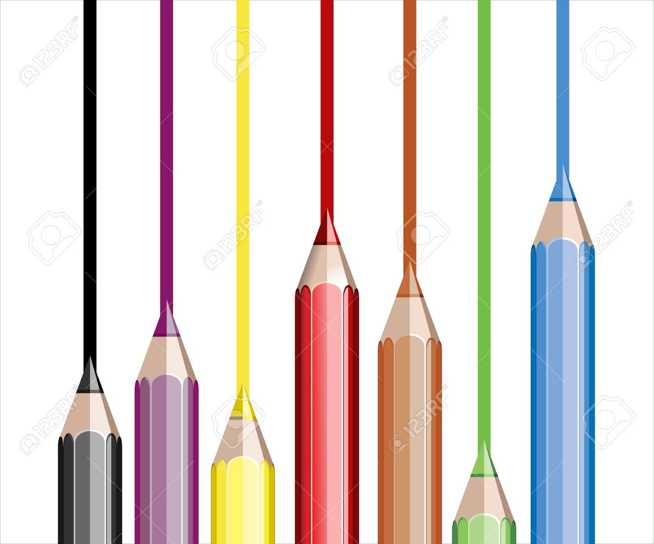 Assortment of coloured pencils on white Stock Vector - 25155912
