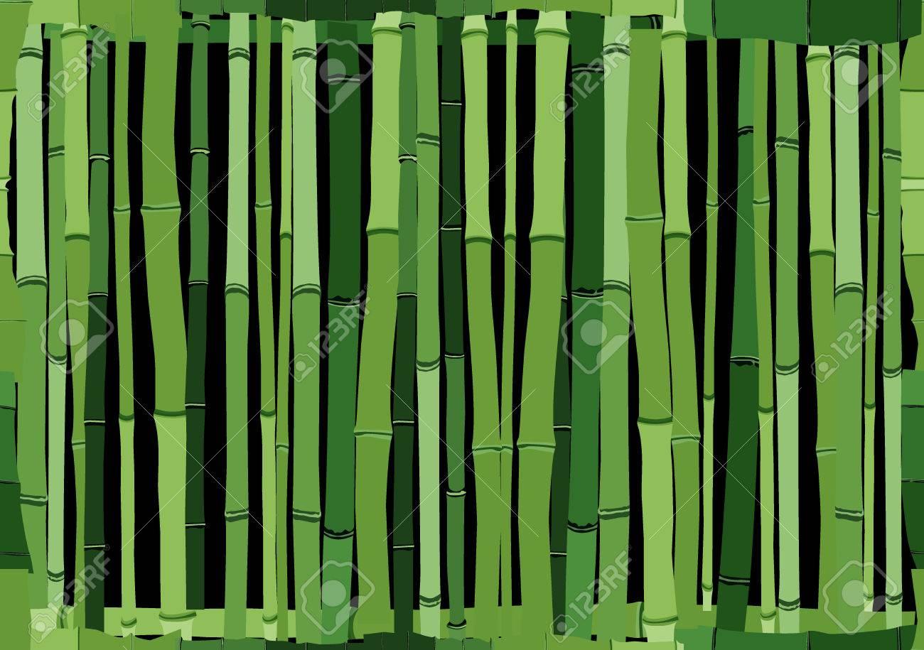Seamless Cartoon Hintergrund Der Grunen Wand Aus Bambus Lizenzfrei