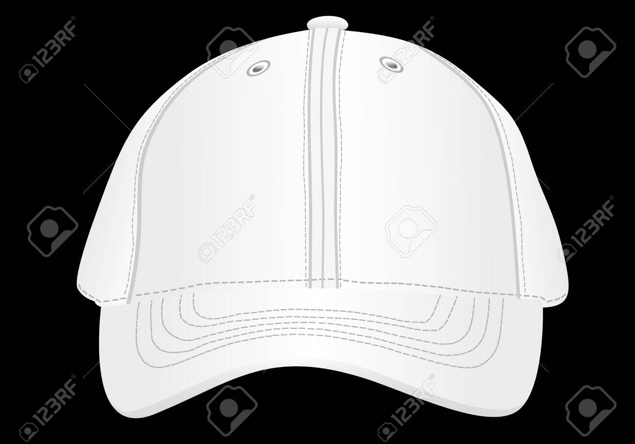 white baseball cap template isolated on black front view royalty