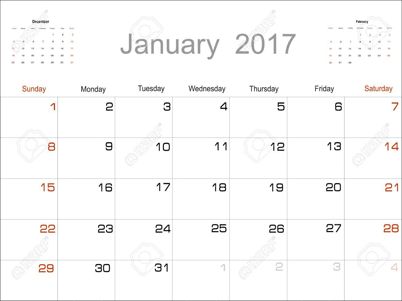 kalender januari 2017