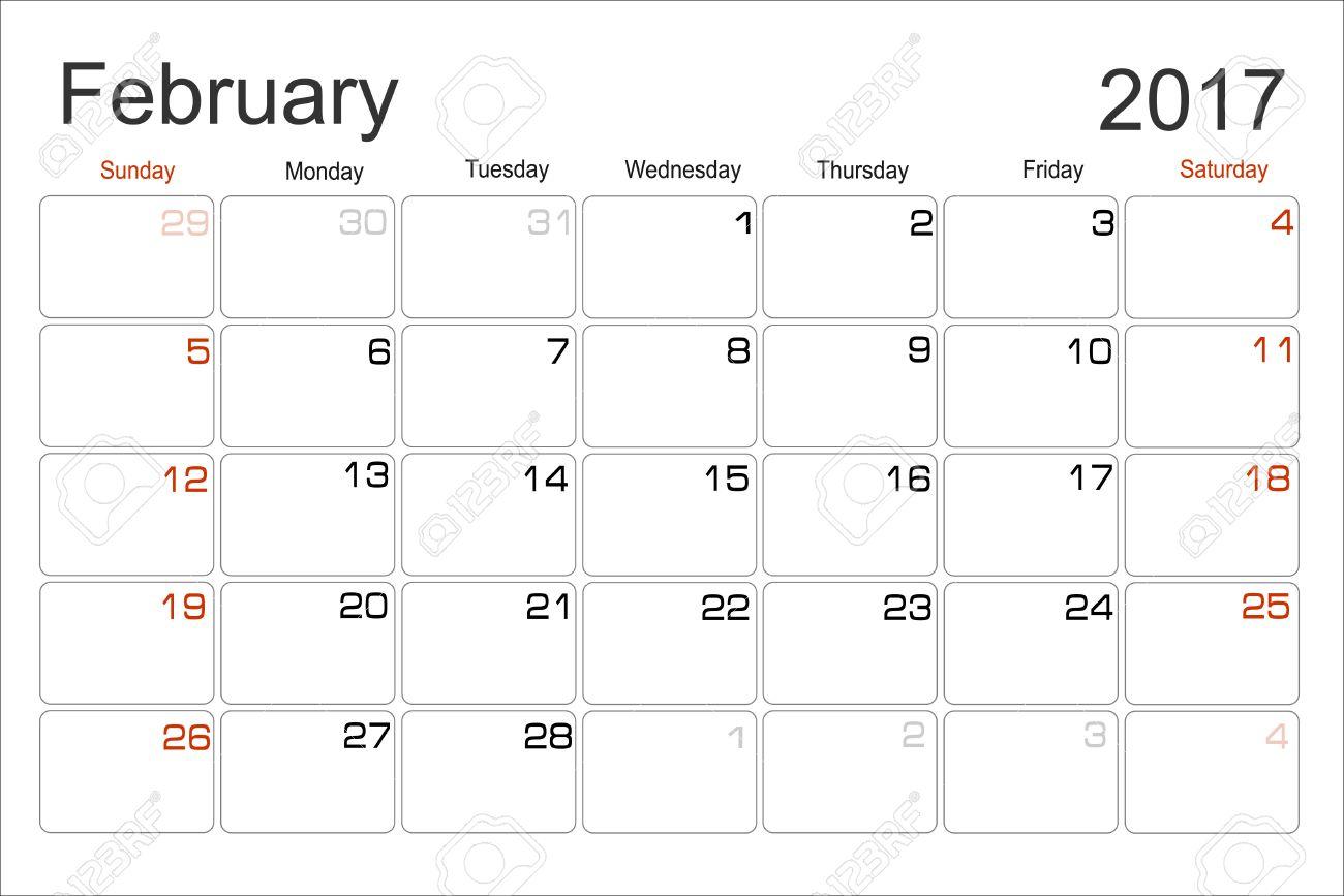 vector planning calendar february 2017 monthly scheduler week