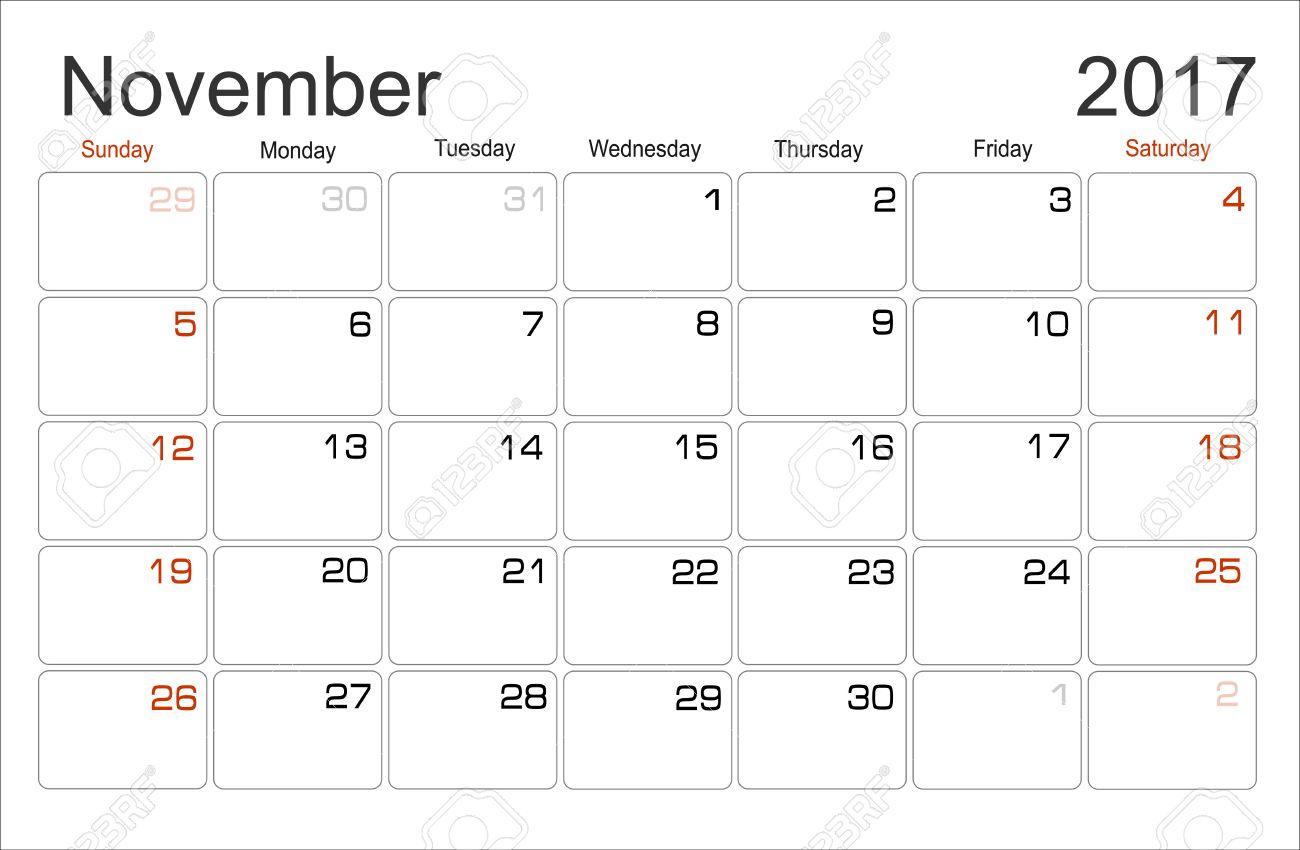 Vector Planning Calendar November 2017 Monthly Scheduler. Week ...