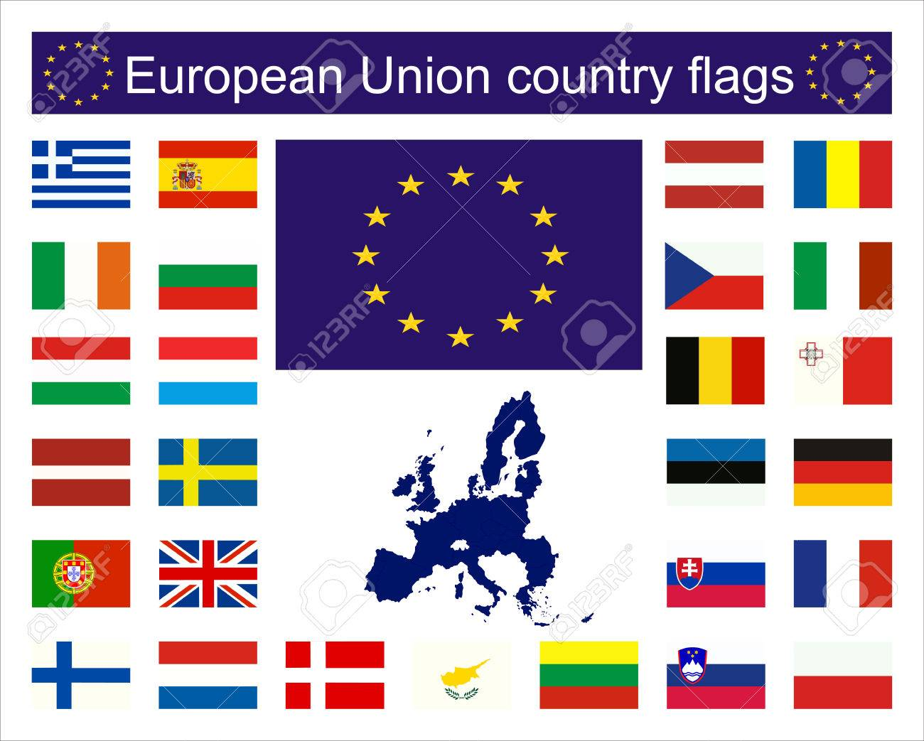 Flags Of Eu Countries And European Union Map Royalty Free Cliparts