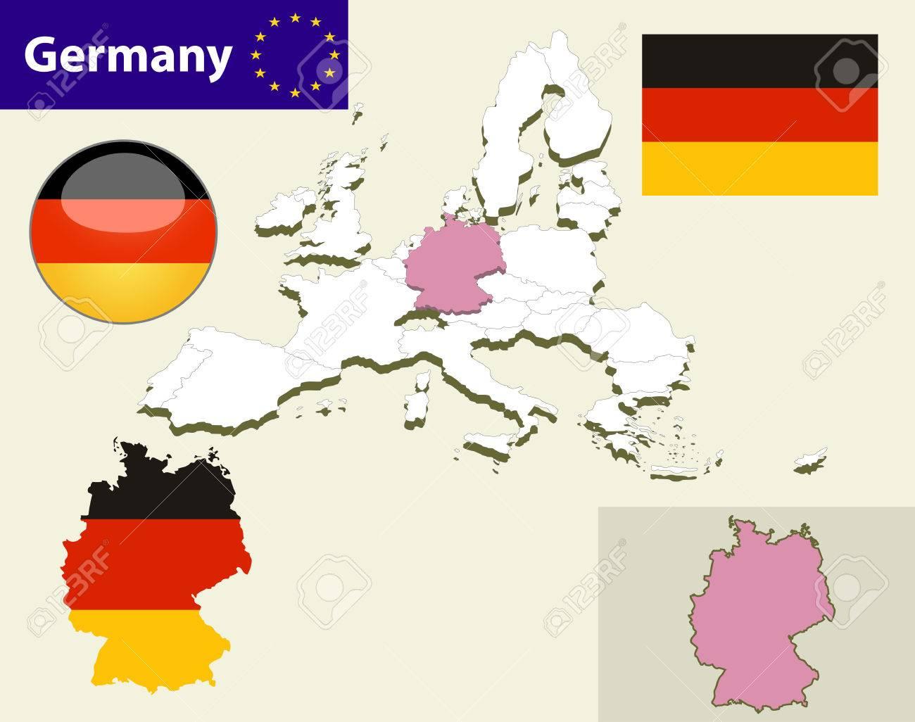 Carte Allemagne Facile.Carte Des Pays De L Union Europeenne Avec Chaque Selectionnable Facile De L Etat Et Modifiable Allemagne Flag Button Glossy Allemagne