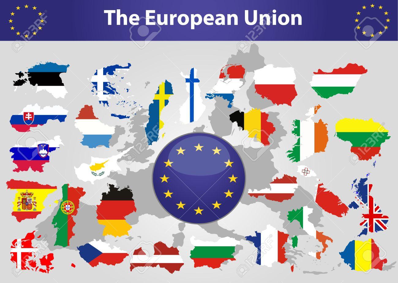 欧州連合の地図と概要地図上にオーバーレイする欧州連合の加盟国の ...