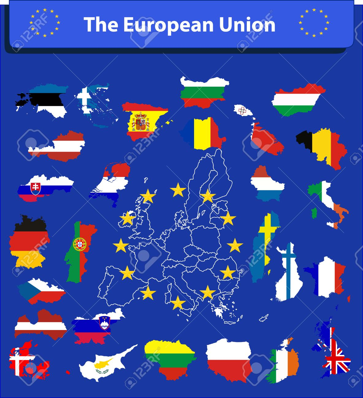 The European Union Map And All The Countries Flags Of The Member