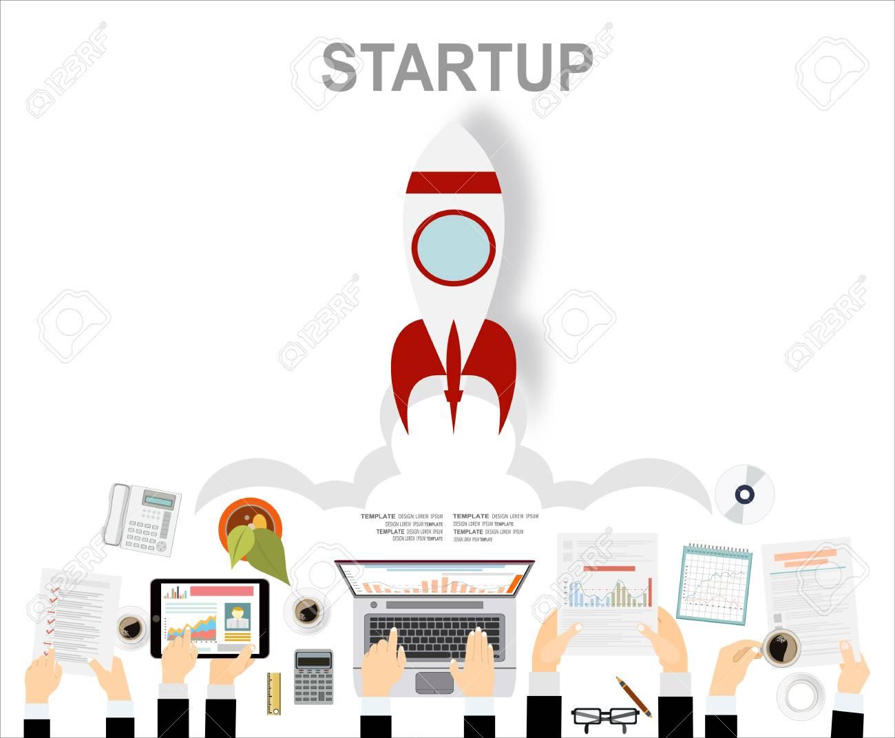 Concepto De Diseño Plano De Idea Startup Y Business Startup. Diseño ...