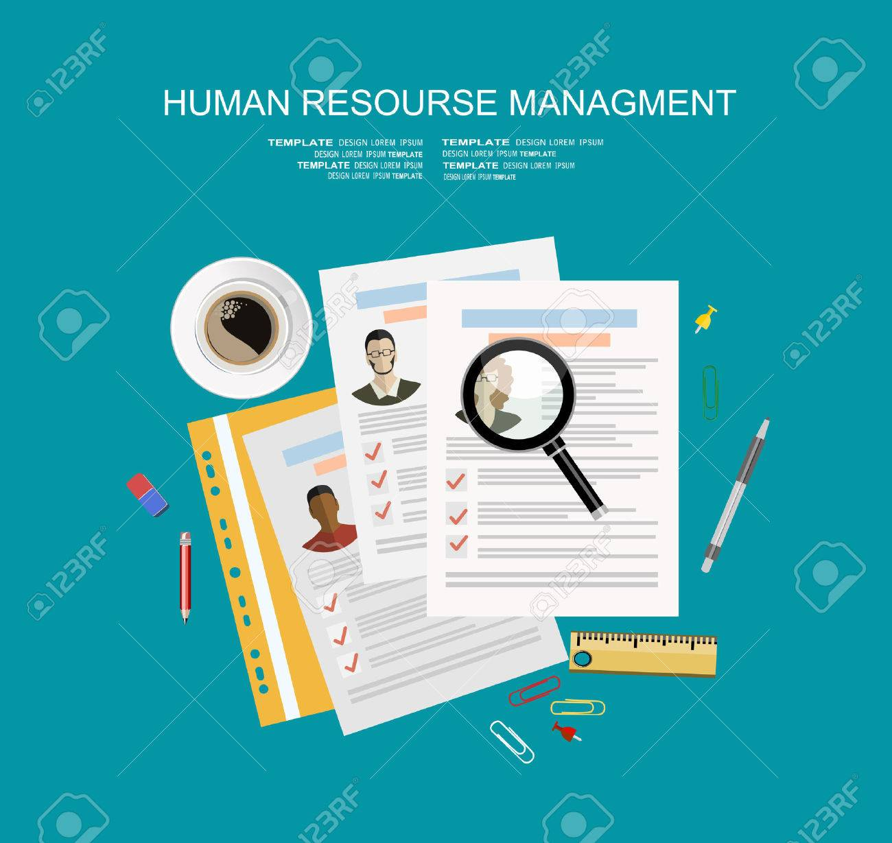Picture of printed CVs and office accessories: pencils, eraser, magnifying glass, cup of coffee etc, flat style banner design of human resource management concept - 59408378