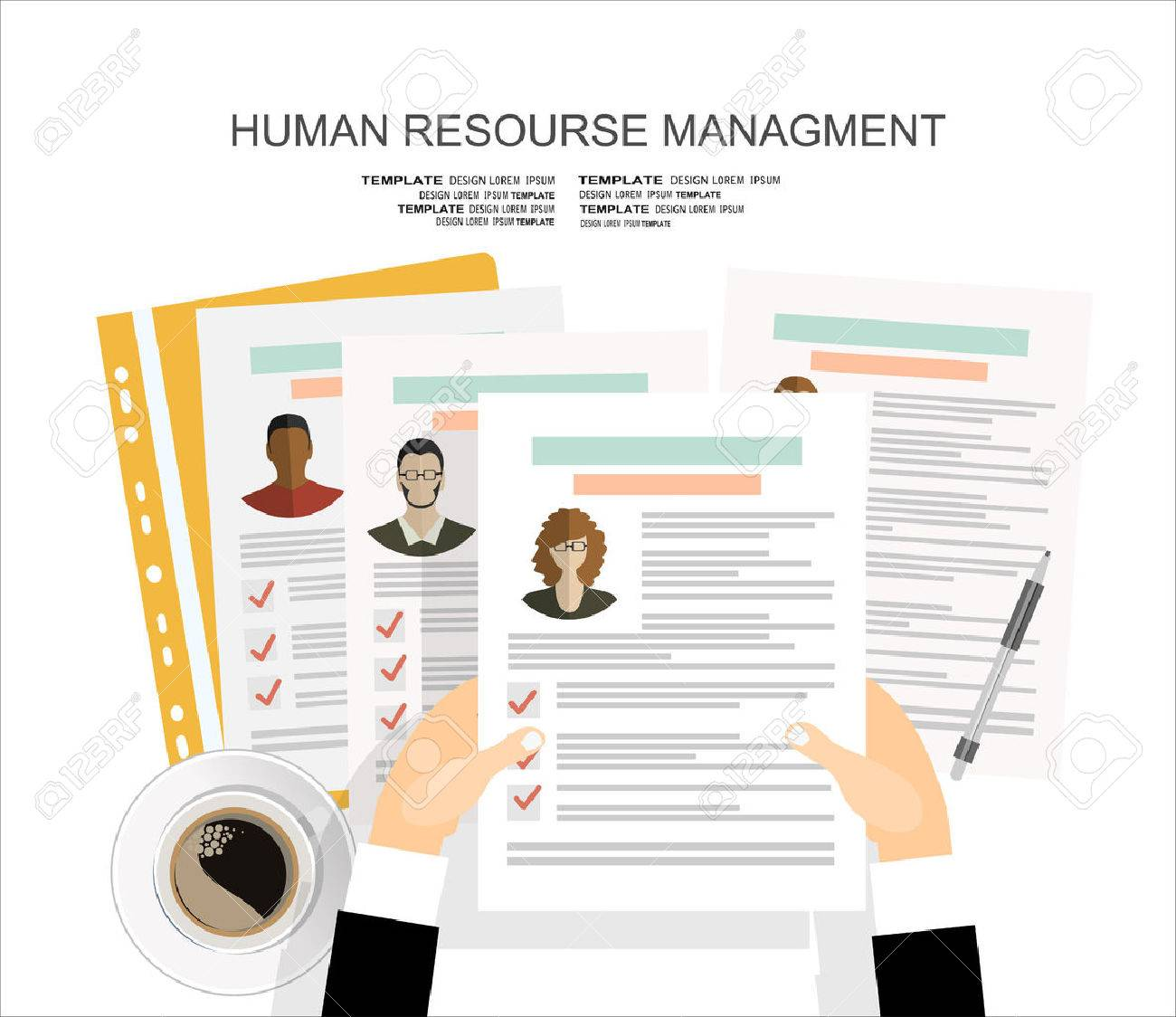 picture of printed cvs flat style banner design of human resource