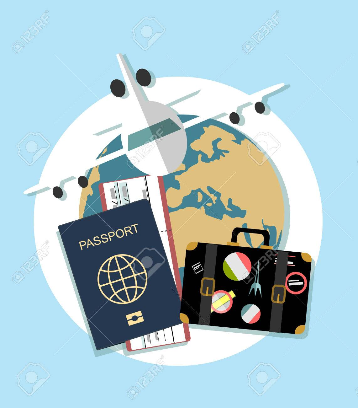 Vector Modern Flat Design Web Icon On Airline Tickets And Travel ...
