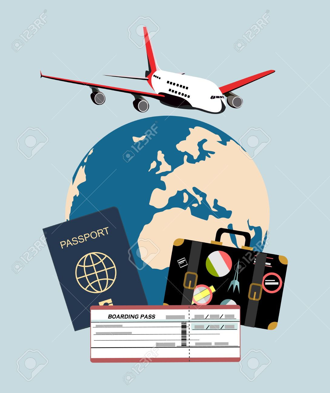 Travel and tourism concept air tickets passports and travel travel and tourism concept air tickets passports and travel suitcase with funky stickers and gumiabroncs Choice Image