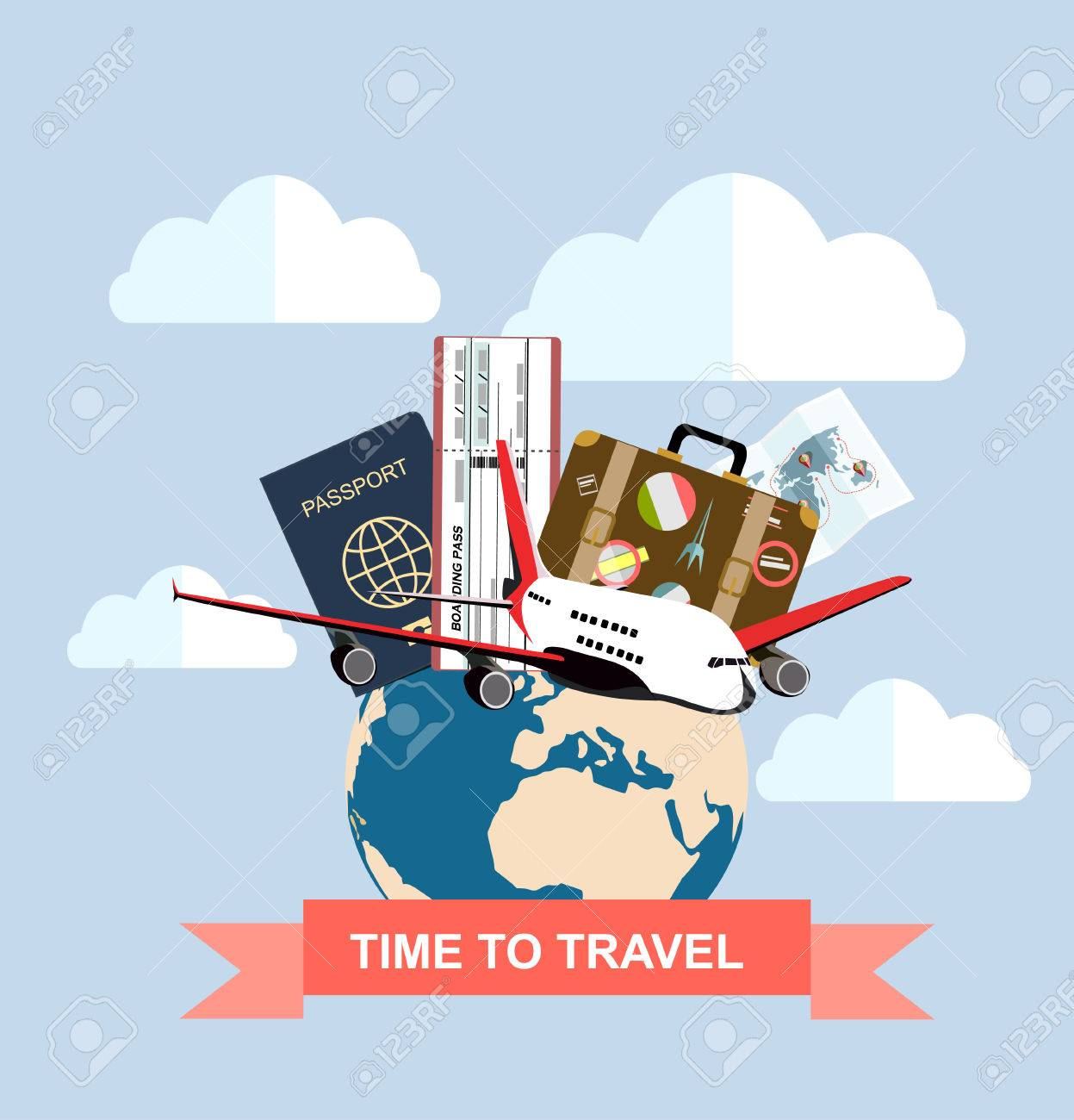 Travel and tourism concept air tickets passports and travel travel and tourism concept air tickets passports and travel suitcase with funky stickers and gumiabroncs Image collections