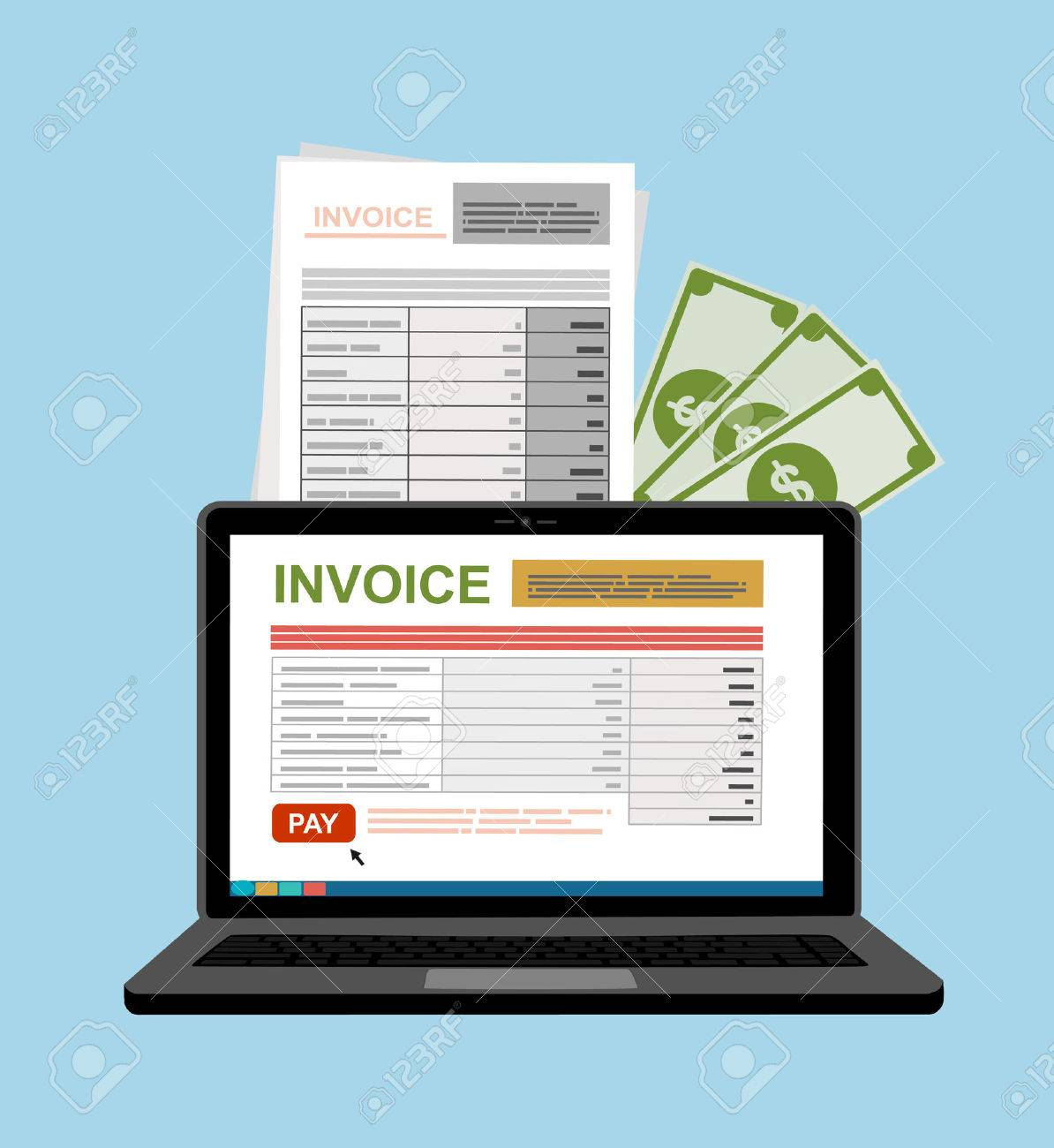 Online Digital Invoice Laptop Or Notebook With Bills, Money, Flat Design  Illustration Stock Vector  Digital Invoices
