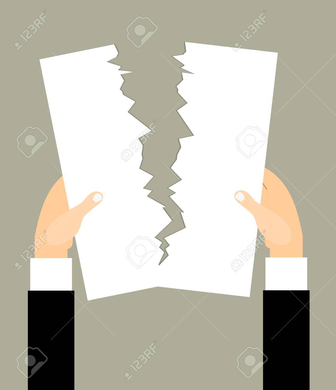 Mannelijke Handen Scheurt Een Blanco Vel Papier. Vector ...