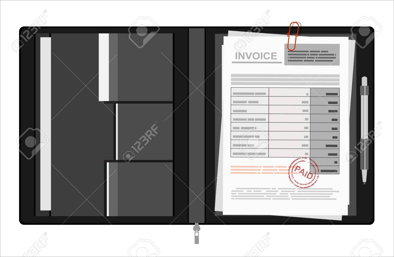Invoice Sheet, Bill And Pen. Flat Style Illustration, Invoice ...