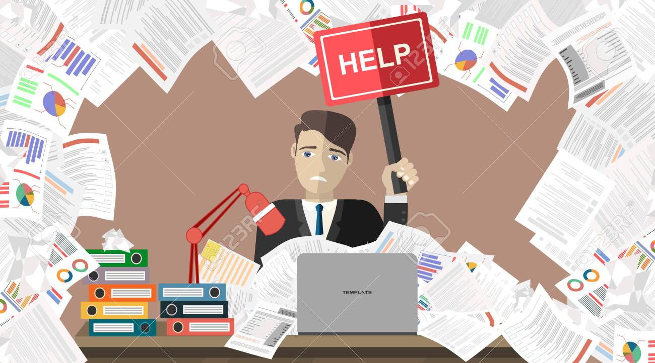 Businessman with pile of paper, business concept. Flat vector illustration. - 136274896