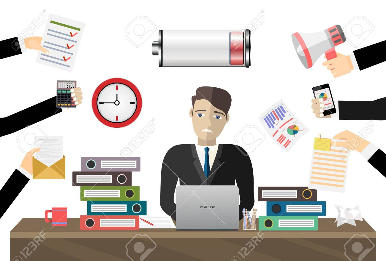 Overworked businessman work laptop computer low on energy vector flat illustration concept - 136275476