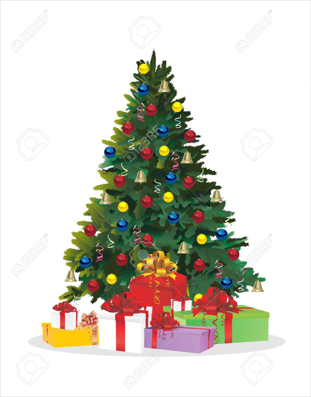 Christmas tree and holiday gifts. Fir-tree decorated with balls Vector illustration. - 136595961