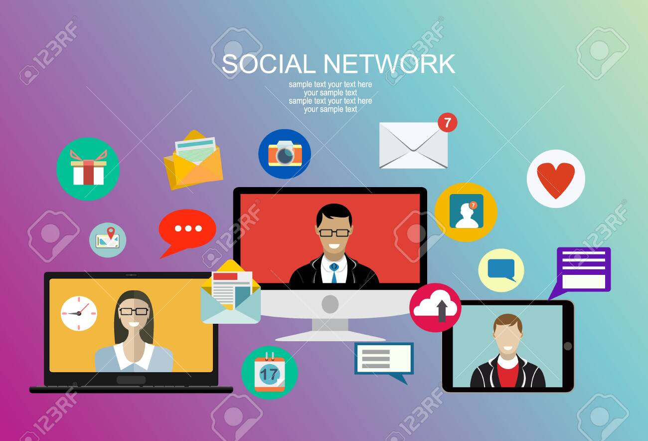 Social network, people connecting all over the world. Vector flat illustration. - 136935442