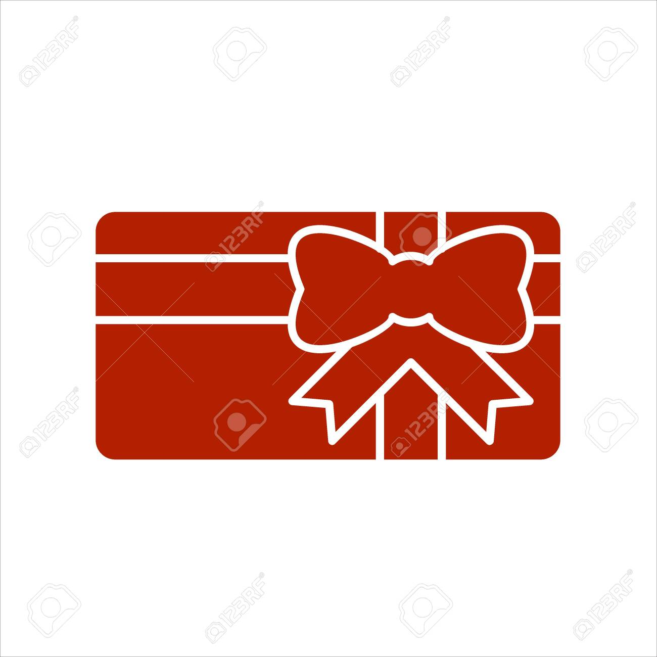 Gift card icon. Present card with ribbon and bow. Solid icon. Special offer sign, promo card. - 137469940