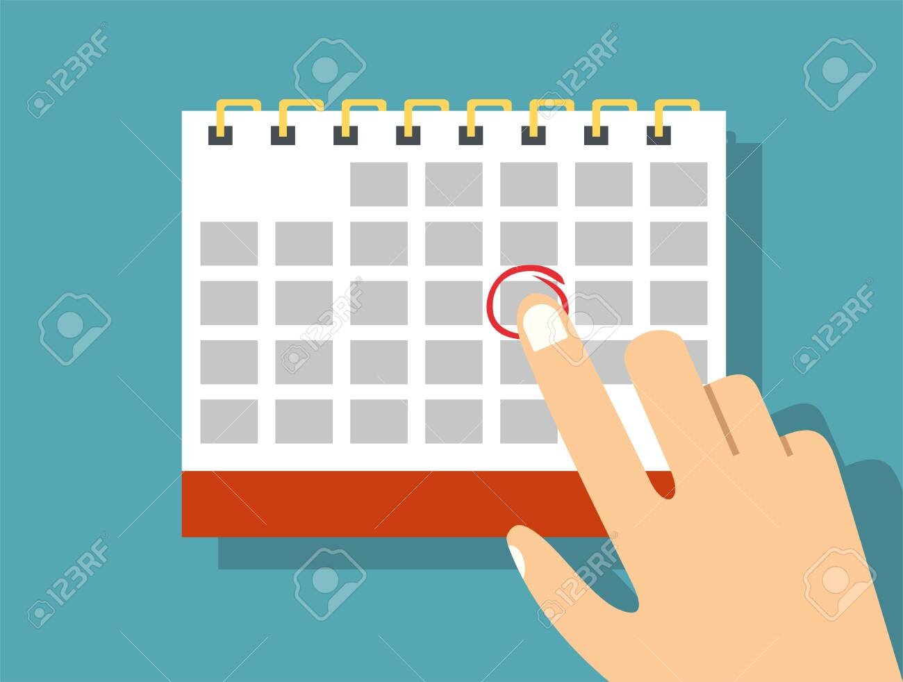 Paper spiral wall calendar. Schedule, appointment, organizer, timesheet, time management, important date. illustration in flat style - 137461185