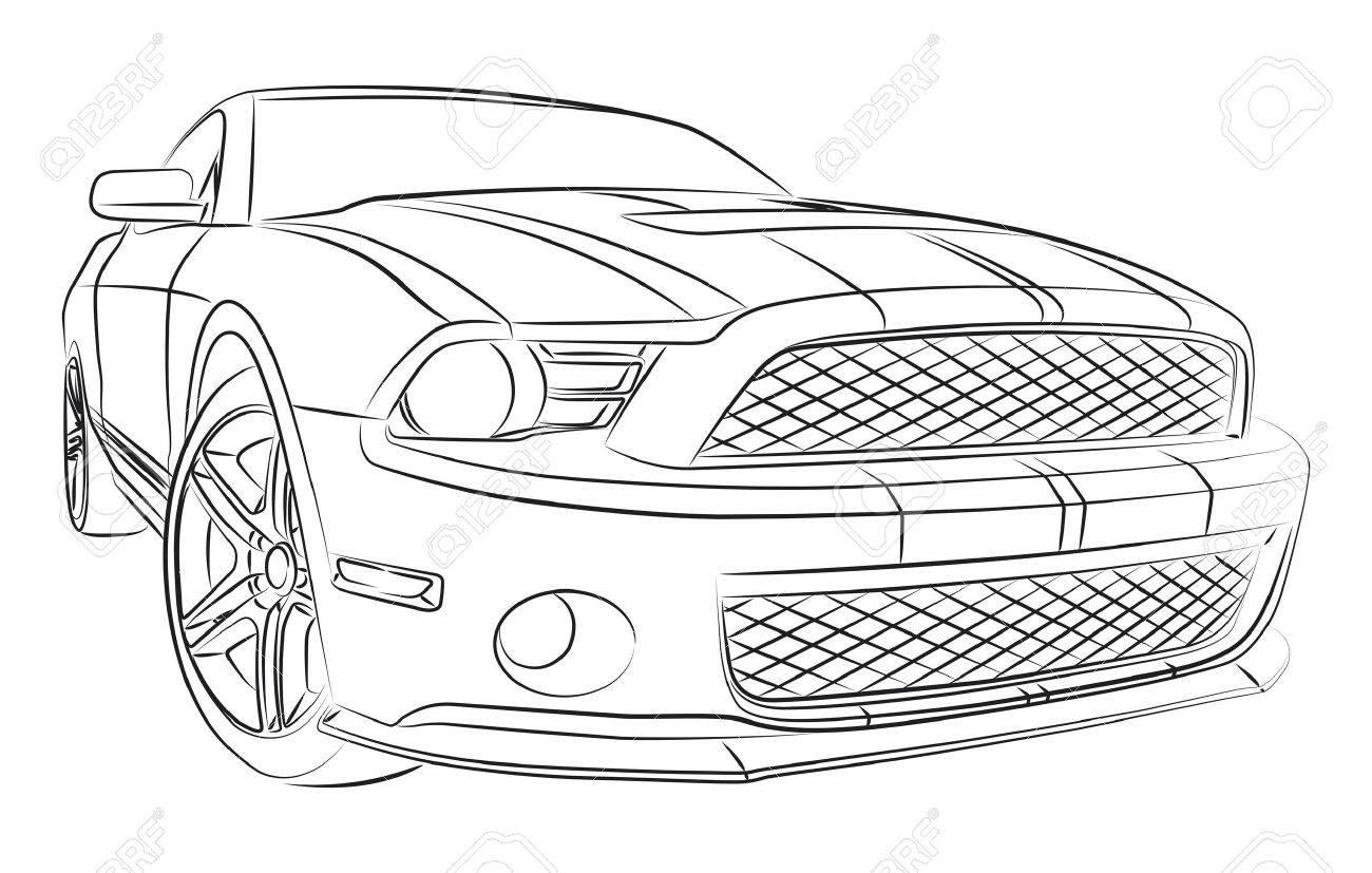 muscle car digital drawing royalty free cliparts, vectors, and stock