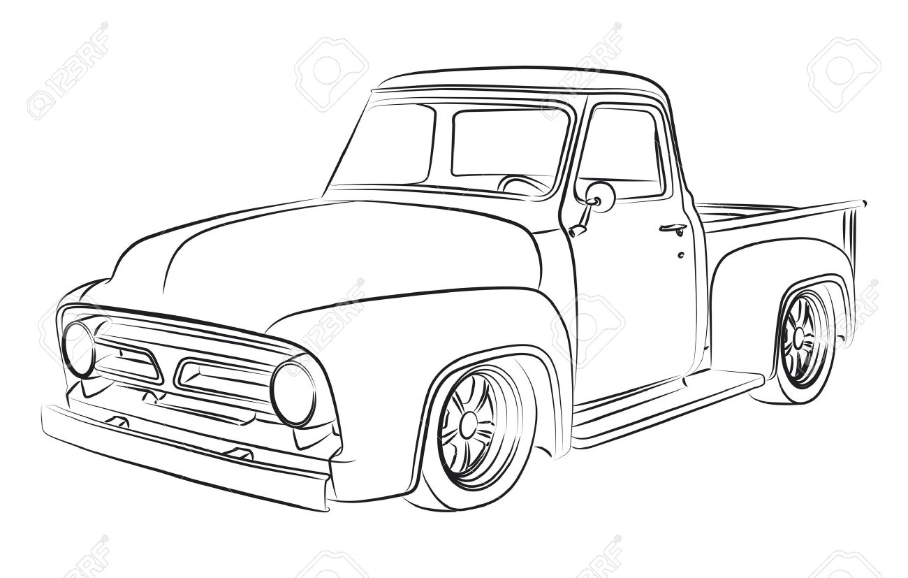 Old Pickup Digital Drawing Royalty Free Cliparts, Vectors, And Stock ...