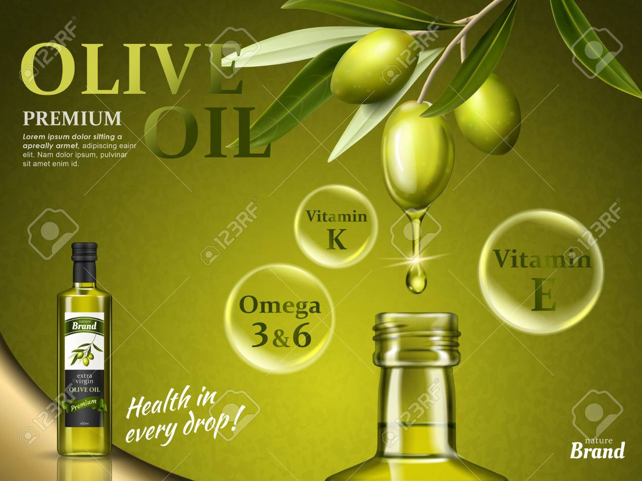 olive oil ad with some of its nutrients and olive fruit elements, 3d illustration - 82508296