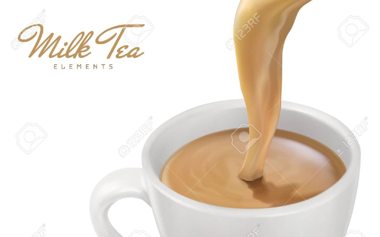 土砂降りのミルクティーをクローズ アップ3 D イラストデザイン要素