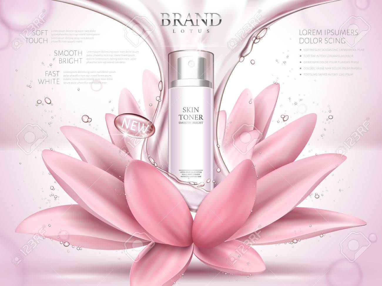 A Lotus Skin Toner Ad Contained In Bottle With Glossy Fluid
