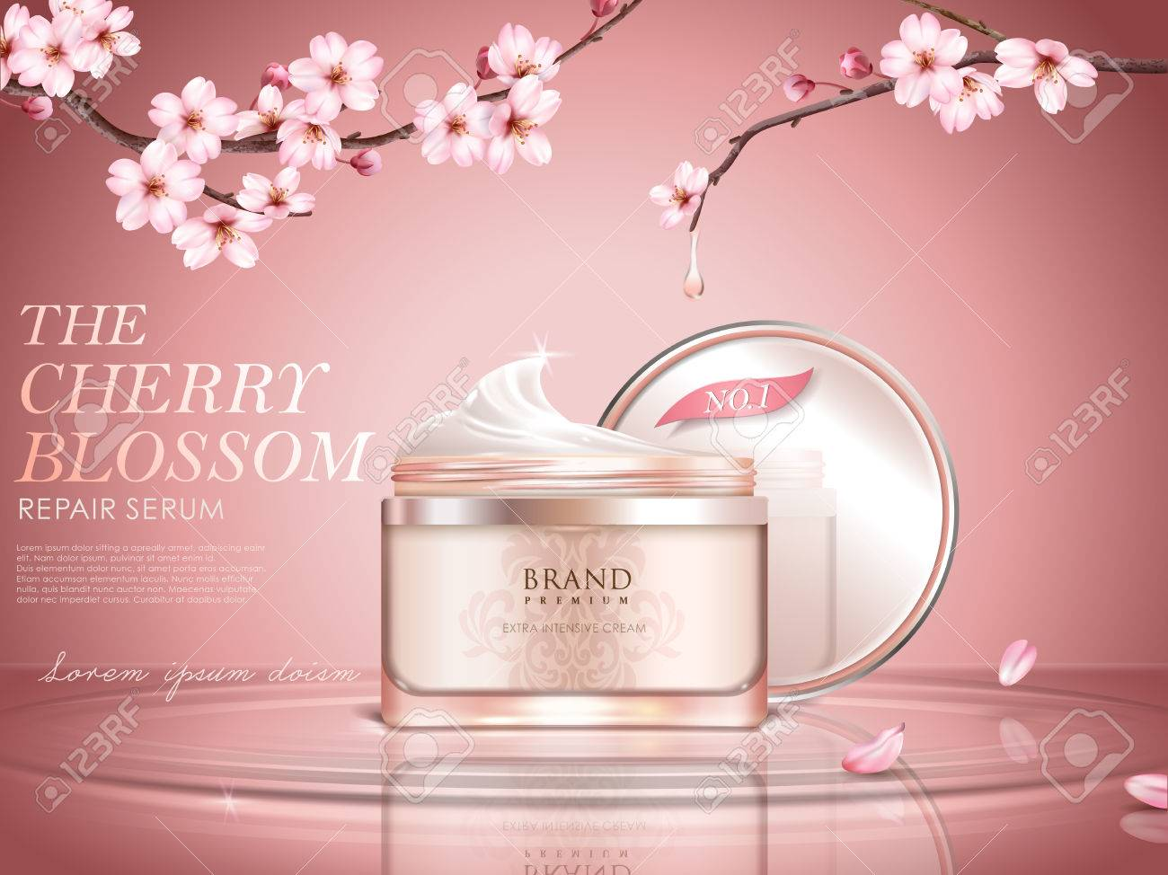 Graceful cherry blossom cosmetic ad, cream bottle upon water surface, sakura branches with dripped water in 3d illustration - 82759154