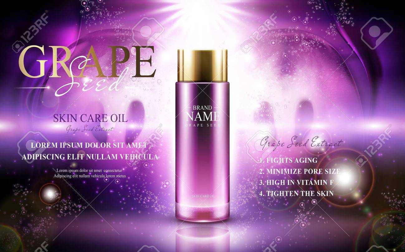 Grape seed skin care oil contained in a glass bottle; with symmetric fruit elements, 3d illustration - 82758141