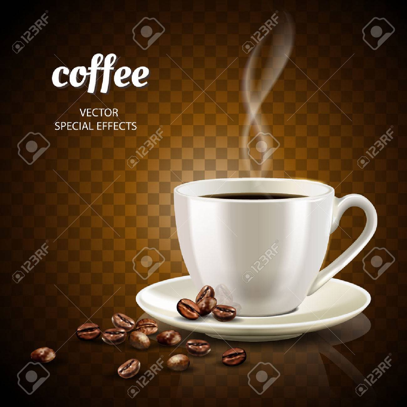Coffee concept illustration with filled coffee cup and few coffee beans, 3d illustration - 82758354