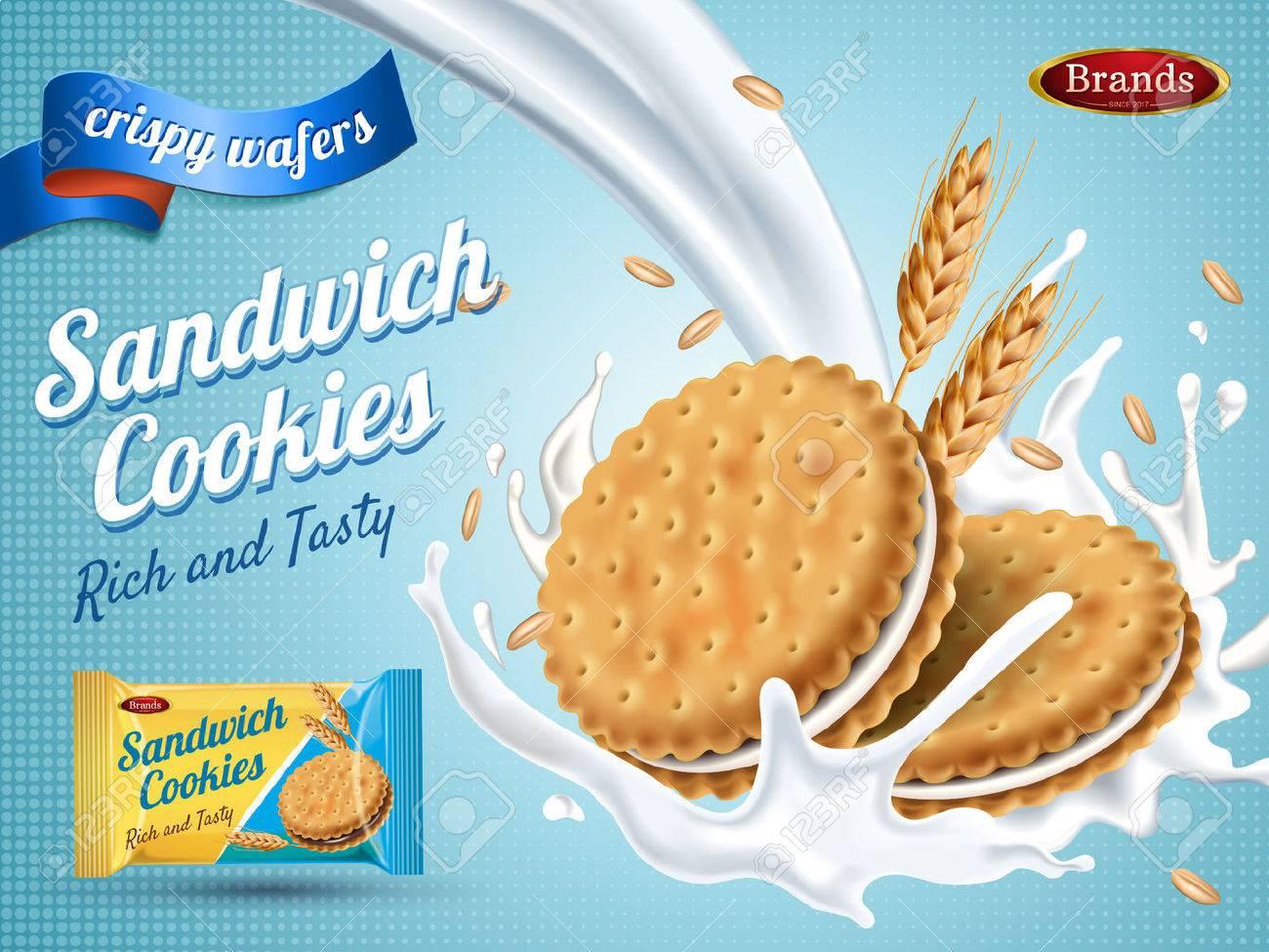 Milk flavor sandwich cookies, isolated light blue background, 3d illustration - 82758696